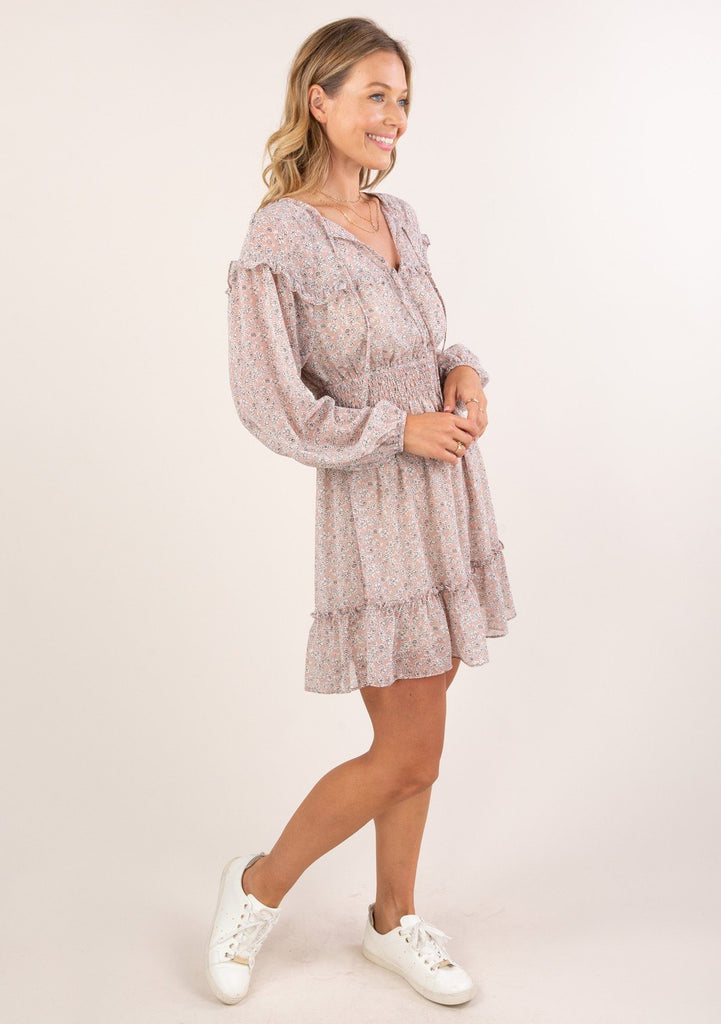 [Color: Blush Ivory] Ultra feminine and flirty sheer ditsy floral mini dress. Featuring a smocked elastic waist, long volume sleeves and elastic cuffs.