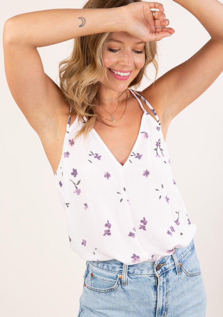[Color: Blush Lavender] Cute and effortless tie back tank top. Features a flattering v neckline.