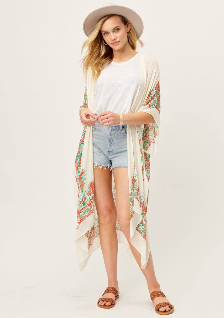[Color: Natural/Ginger/Multi] Lovestitch long orange boho beach kimono with flattering billowy silhouette and Moroccan print.