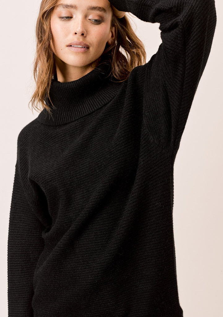 [Color: Black] Lovestitch Black Relaxed Fit Ribbed Turtleneck Sweater