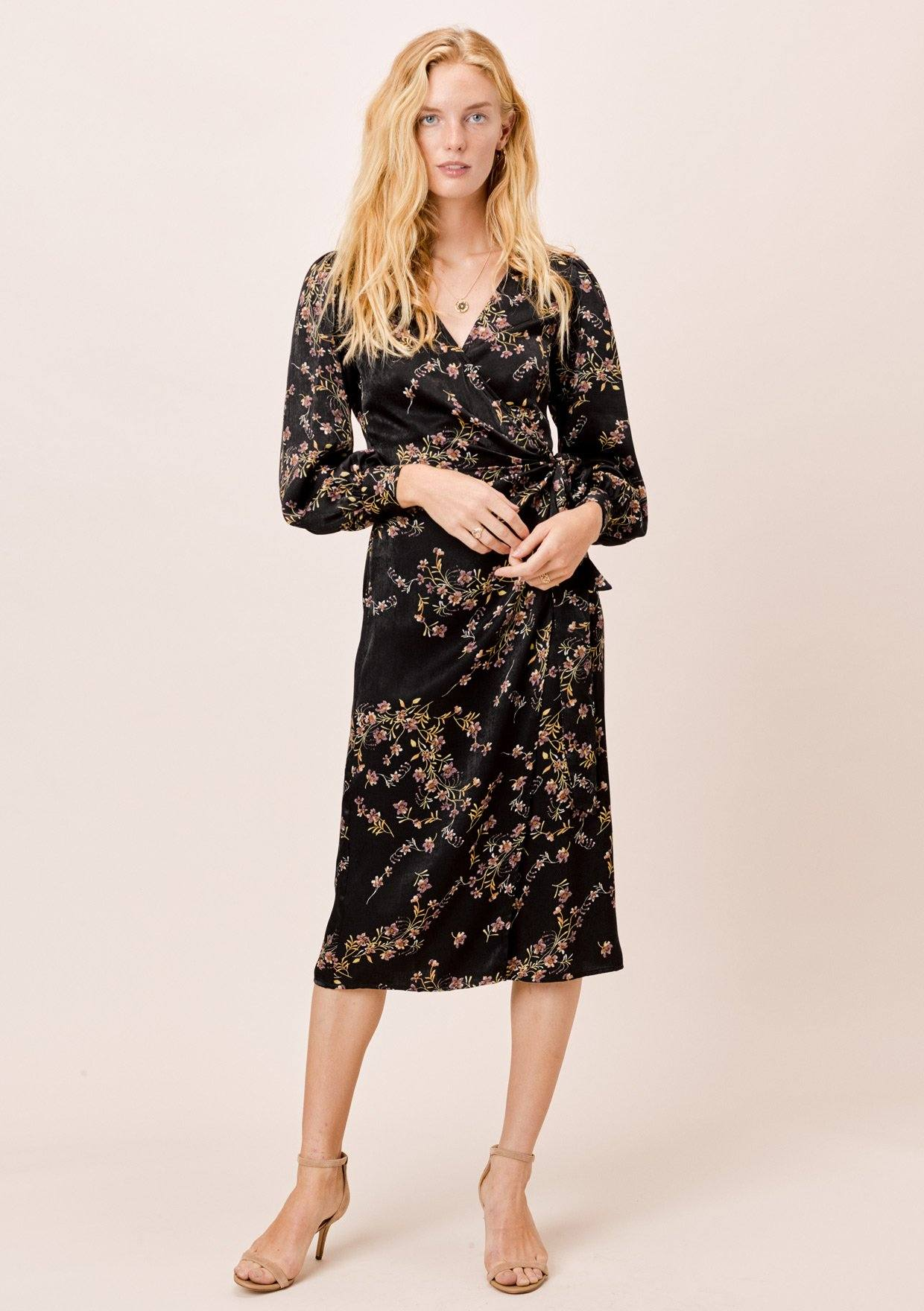 [Color: Black] Lovestitch Black, long sleeve, botanical floral midi wrap dress