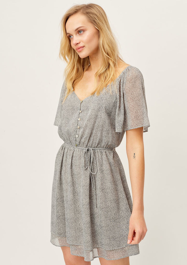 [Color: Bone/Charcoal] The work from home mini dress is professional on the top, and playful on the bottom. Cute button front top mini dress with slimming sheer kimono sleeves and waist defining spaghetti belt and tiny black dots