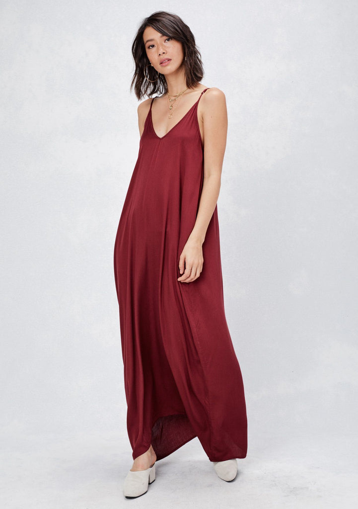 [Color: Wine] Lovestitch, red, classic harem maxi dress features adjustable straps, functional pockets and a deep V-neckline.