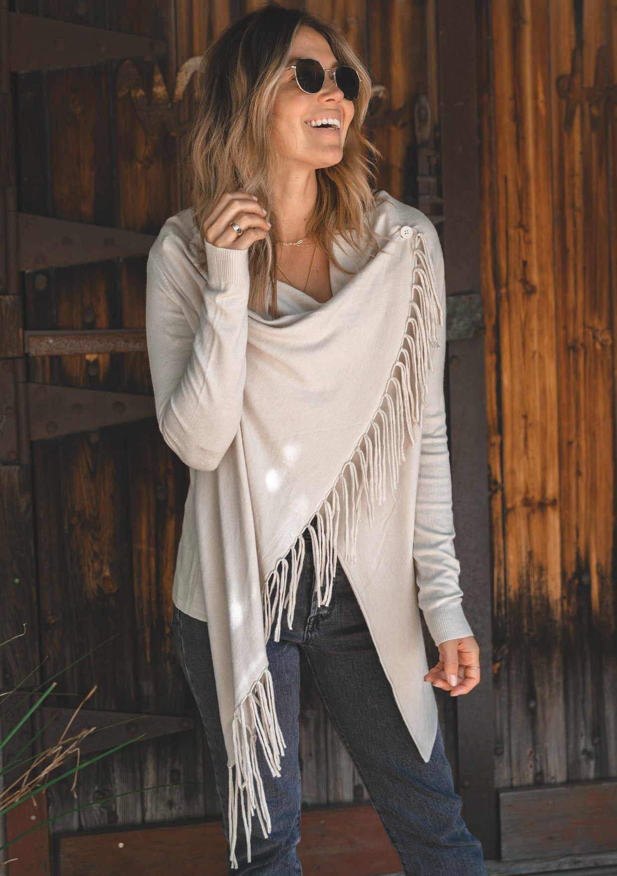 [Color: Vanilla] Lovestitch vanilla, buttery soft, wrap sweater with fringe.