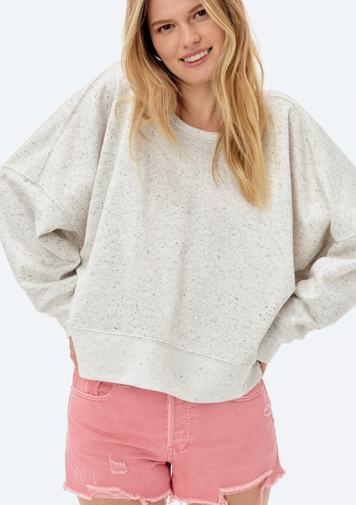 [Color: Light Heather Grey Confetti] Lovestitch light heather grey, relaxed-fit pullover, in a subtle multicolor, frenchterry cotton blend!