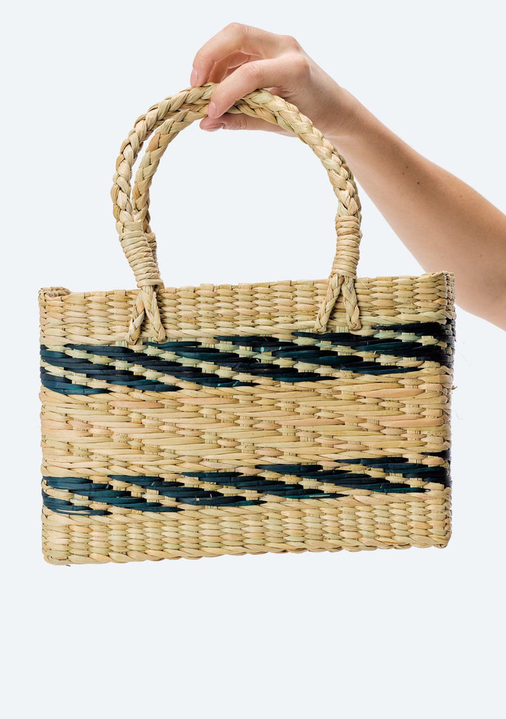 [Color: Natural/Teal] Lovestitch hand woven, striped straw tote with pom-pom tassel detail.