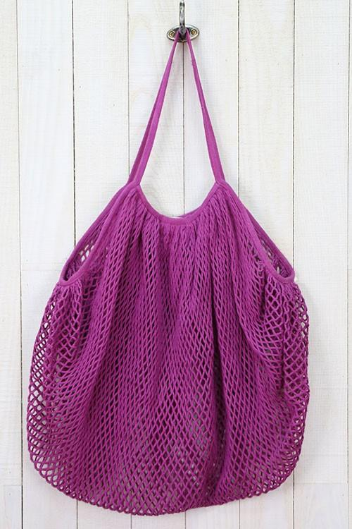[Color: Magenta] The perfect mesh net tote for carrying your produce at the grocery store or farmers market. Bright beautiful magenta pink cotton stretch net tote bag from Lovestitch