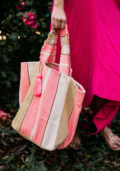 Think Pink Striped Beach Tote