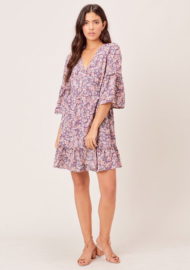 [Color: Charcoal/Peach] Lovestitch charcoal/peach Floral printed, elbow bell sleeve wrap dress with ruffled detail.