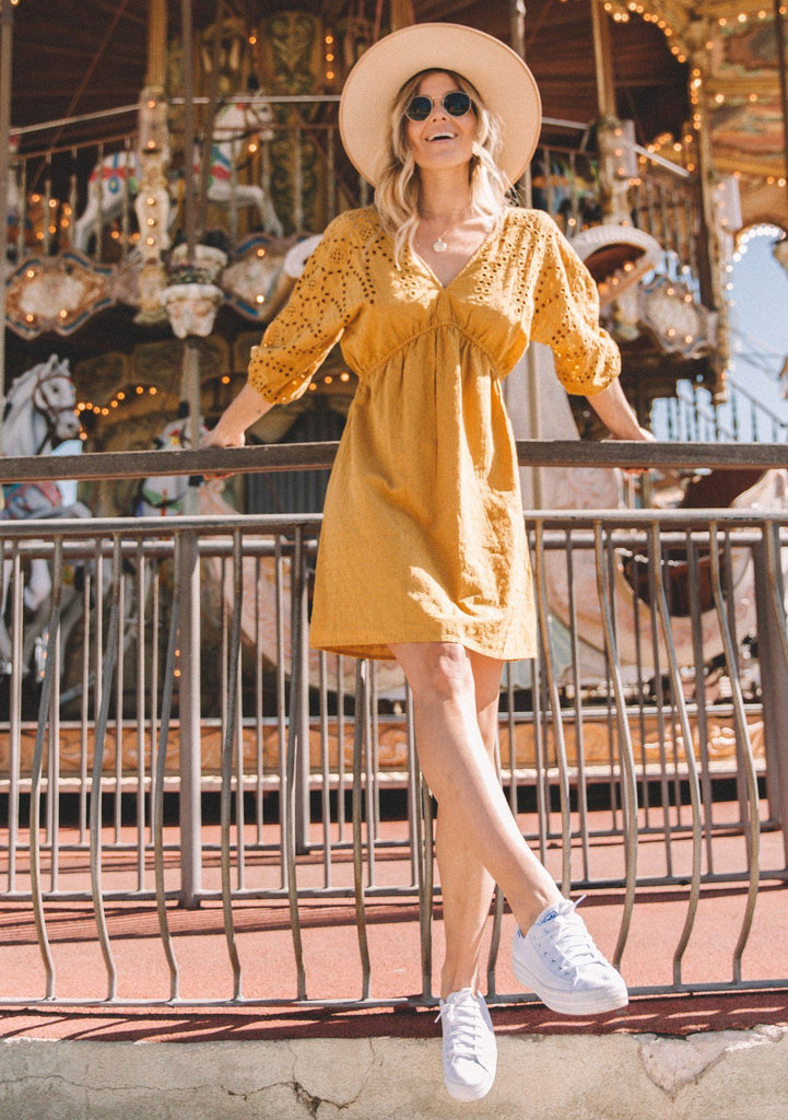 [Color: Mustard] Lovestitch cotton, swiss dot mini dress with embroidered eyelet sleeves.
