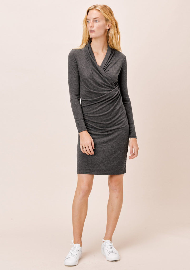 [Color: Charcoal] Lovestitch Charcoal Grey Slim Fit Mini Dress with Draped Surplice Front