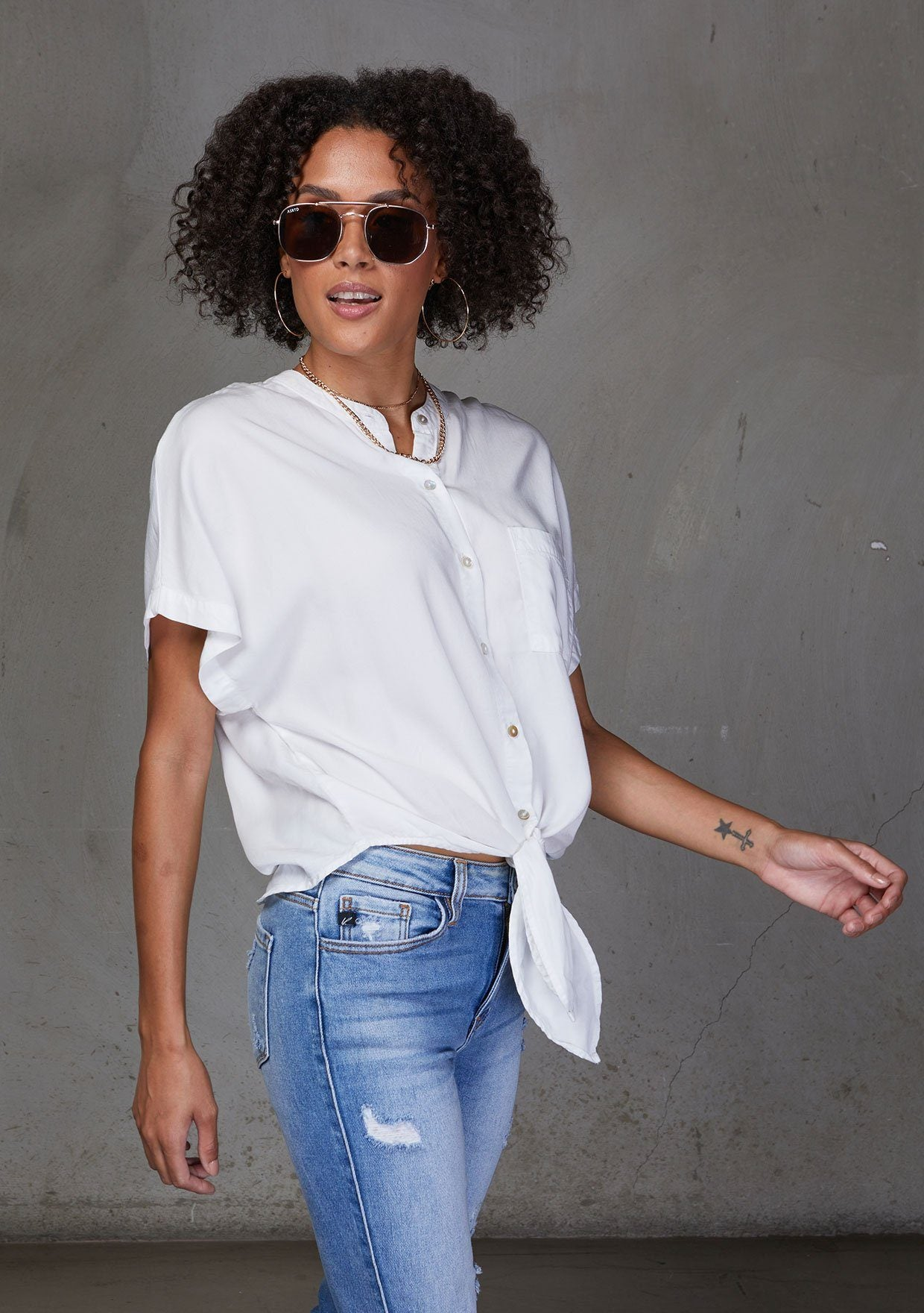 [Color: White] An ultra soft tie front top , featuring a chic mandarin collar and a trendy tie front detail. Pair this essential style with jeans for a casual feel.