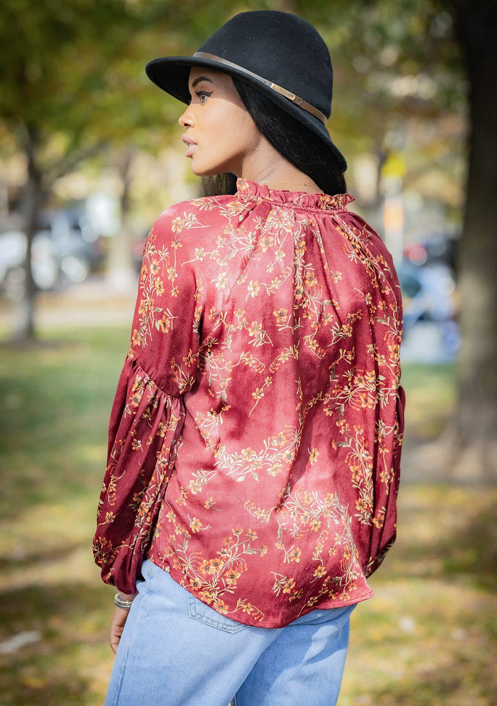 [Color: Burgundy] Lovestitch floral printed, long sleeve top with ruffled neck detail and tie neck detail