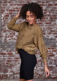 [Color: Olive] A super soft and cozy pullover sweatshirt. Featuring long raglan sleeves, a loose crew neckline, and cool distressed details throughout.