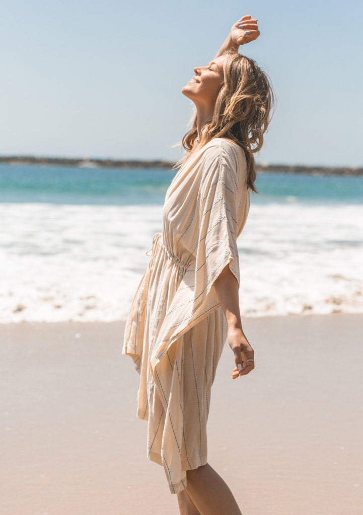 [Color: OffWhite/Silver] Lovestitch beautiful bohemian beach caftan dress that doubles as a swimsuit cover up. Flattering kimono sleeves, slimming tassel tie cinched waist, lightweight fabric. The perfect bohemian mermaid beach dress! Shop the beach dress that looks like the little mermaid dress.