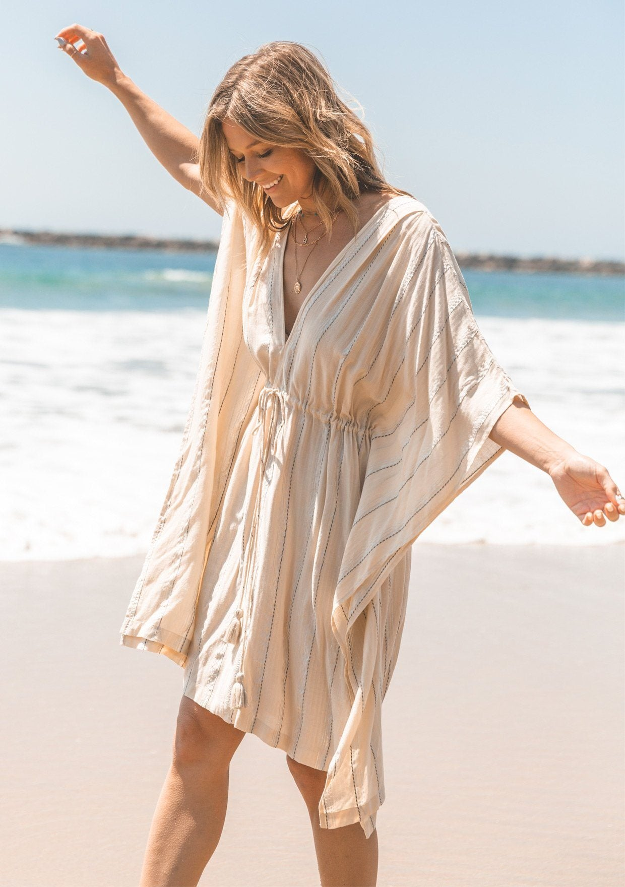 [Color: OffWhite/Silver] Lovestitch beautiful bohemian beach caftan dress that doubles as a swimsuit cover up. Flattering kimono sleeves, slimming tassel tie cinched waist, lightweight fabric. The perfect bohemian mermaid beach dress!