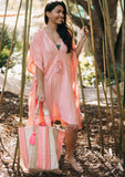 [Color: Coral/Silver] Lovestitch beautiful bohemian beach caftan dress that doubles as a swimsuit cover up. Flattering kimono sleeves, slimming tassel tie cinched waist, lightweight fabric. The perfect bohemian mermaid beach dress!