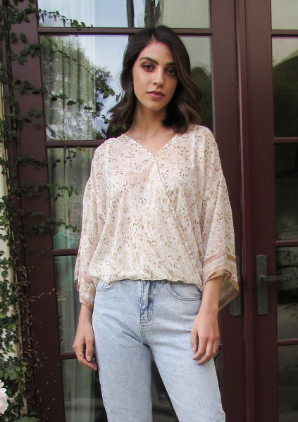 All That Glitters Metallic Floral Surplice Top