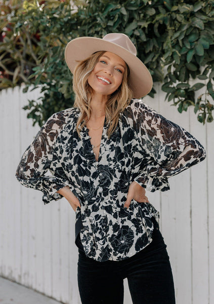 Spring Fever Floral Button Front Blouse