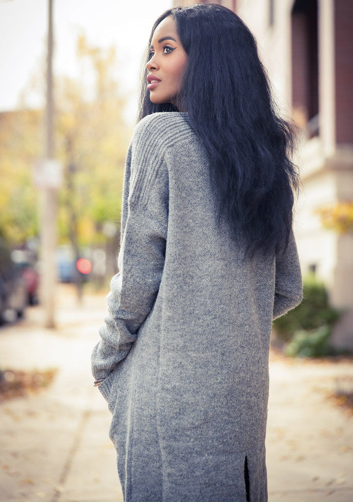 [Color: Heather Grey] A classic mid length cardigan. Featuring essential side pockets and contrast ribbed trim.