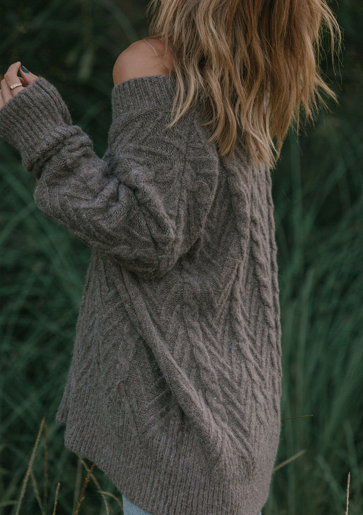 [Color: Vintage Rose] Lovestitch mushroom, relaxed fit, oversized long sleeve sweater.