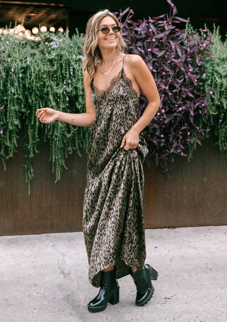 [Color: Army/Black] Inspired by lingerie but designed for outside the bedroom, our sexy leopard print tiered slip maxi dress is perfect for any special occasion. Featuring a delicate lace trim v neckline and pretty lace button up racerback. Styled here with boots for a chic cool weather look.