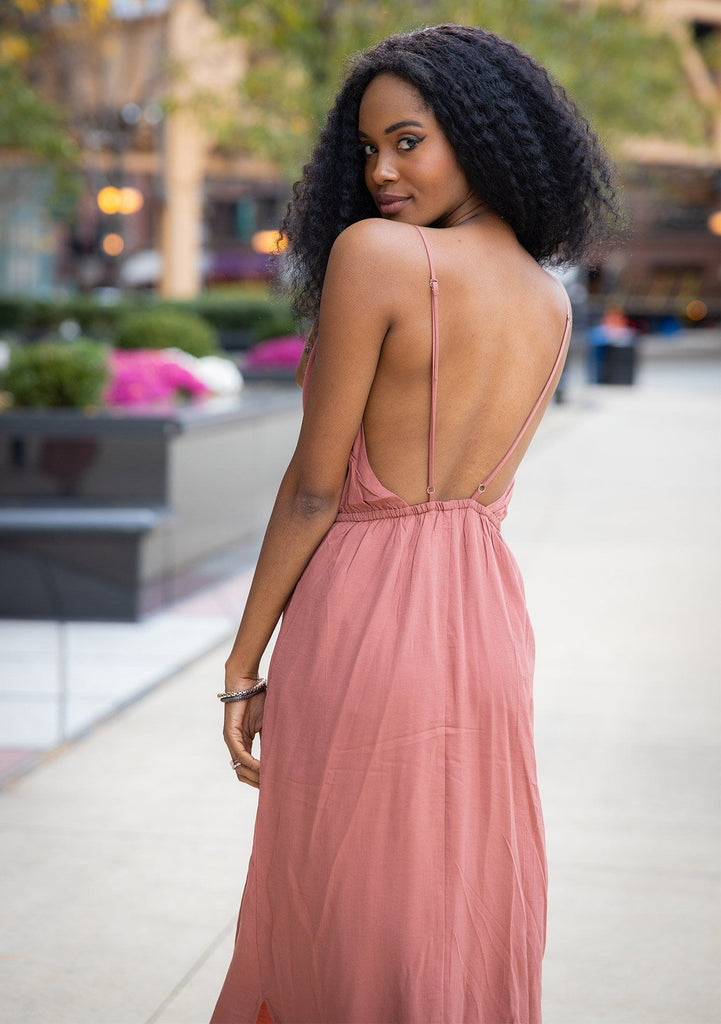[Color: Clay] It does not get much better than this stunning maxi dress. Featuring a sexy low back, a deep v neckline wrap top, and subtle side slits for movement.