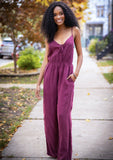 [Color: Burgundy] Soft and elegant sleeveless wide leg jumpsuit. Featuring a flirty front keyhole detail and a flattering cinched waist.