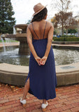 [Color: Navy] It does not get much better than this stunning maxi dress. Featuring a sexy low back, a deep v neckline wrap top, and subtle side slits for movement.