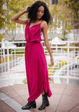 [Color: Magenta] It does not get much better than this stunning maxi dress. Featuring a sexy low back, a deep v neckline wrap top, and subtle side slits for movement.
