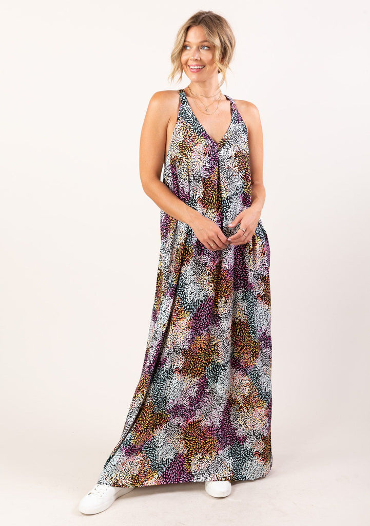 [Color: Black Lavender] Summer is not complete without our lightweight and flowy maxi dress in a bright abstract floral print. Featuring elegant draping and a pleated racerback detail. An effortless silhouette and easy throw on and go tank top dress for all your warm weather activities.