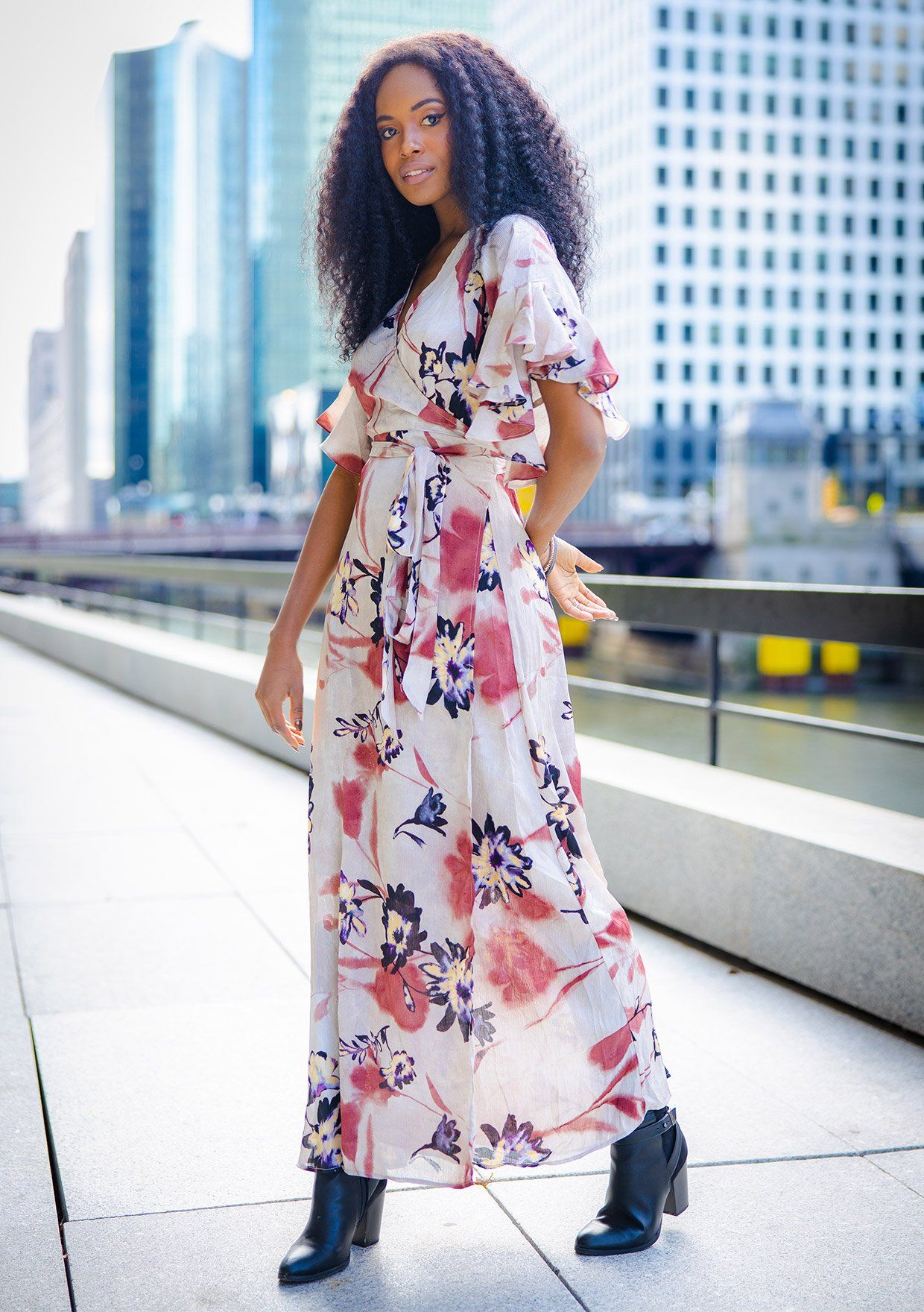 [Color: Taupe] Beautiful bold floral print maxi dress with ruffled short sleeves and wrap front.
