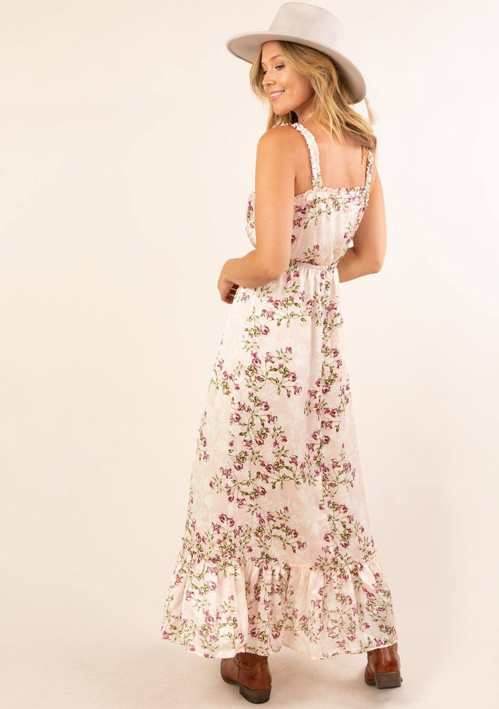 Lace Up Floral Maxi Dress