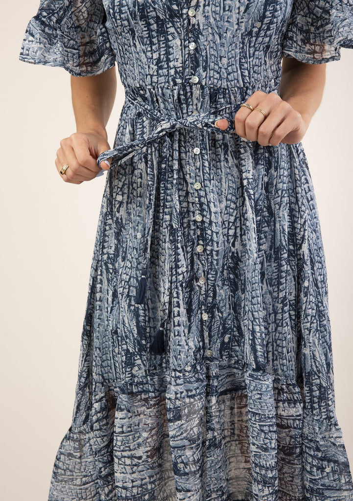 [Color: Navy Blue] Gorgeous flowy boho maxi dress. Features a belted waist detail for definition.