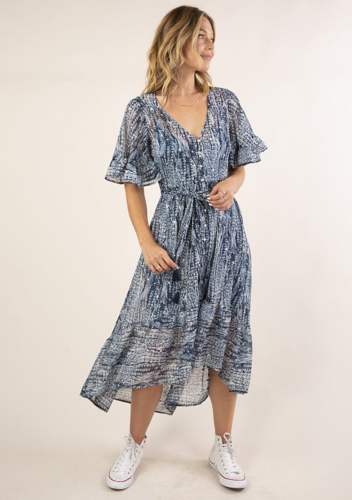 [Color: Navy Blue] Ultra pretty flowy boho maxi dress. Features a button front and belted waist detail.