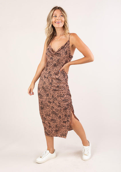 Wild Card Side Ruched Midi Dress
