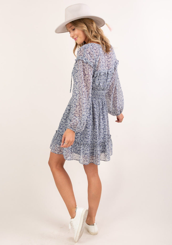 [Color: Denim Ivory] Ultra feminine and flirty sheer ditsy floral mini dress. A cute boho dress in a gauzy lightweight fabric. Lined bodice and skirt are attached.