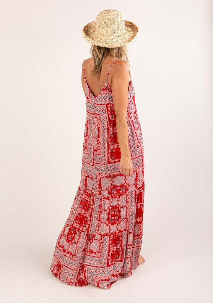 [Color: Red Turquoise] A gorgeous tent style maxi dress featuring a flattering v neckline in front and back.