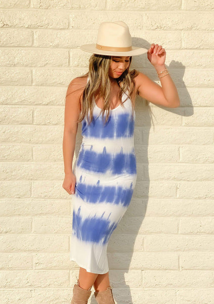 Blue Skies Tie Dye Ribbed Tank Dress