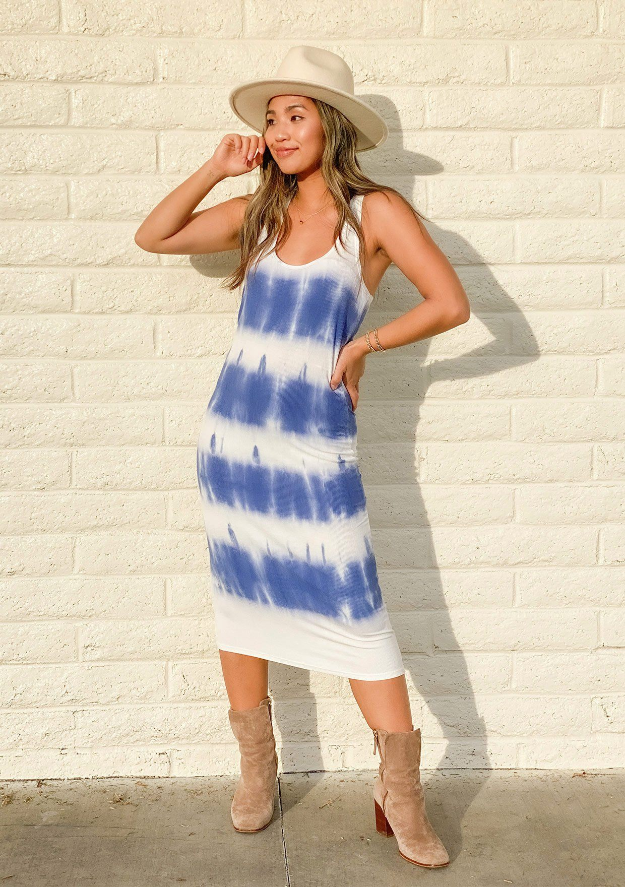 [Color: White Blue] An ultra cool tie dye tank dress made with a soft bamboo micro rib. Featuring a flattering scooped neckline and a racerback detail. A touch of stretch gives this style an easy slim fit and helps to maintain its shape.