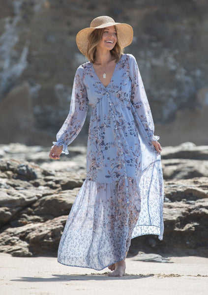 Meadow Sage Floral Maxi Dress