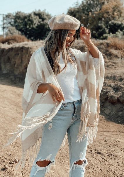 Walk This Way Fringed Scarf Poncho