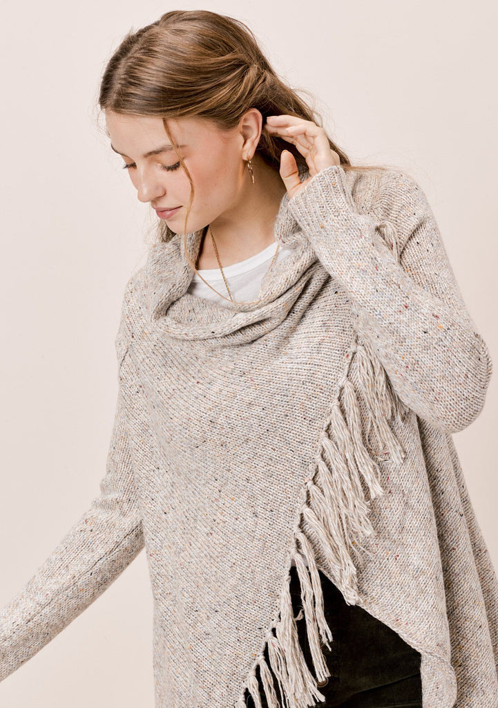 [Color: Light Grey] Lovestitch light grey, wool blend, speckled yarn fringe sweater cardigan