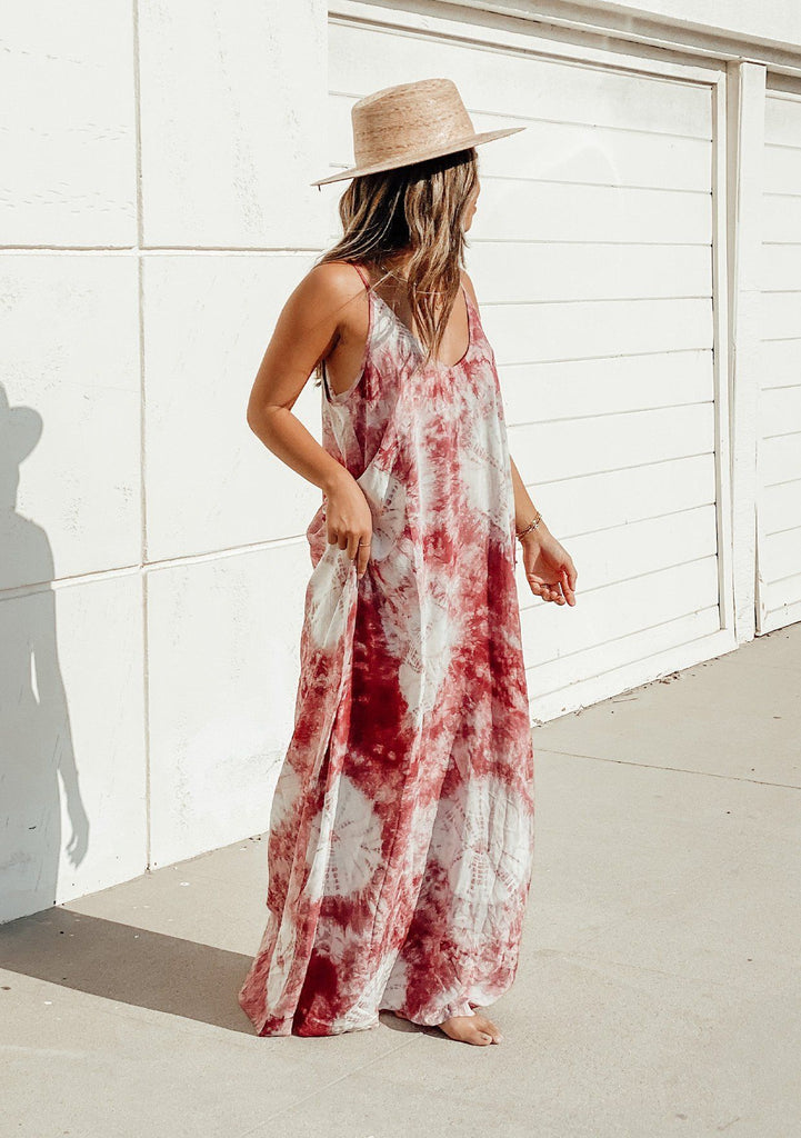 [Color: Wine/Sky] Lovestitch wine & sky, tie-dye harem maxi dress with pockets