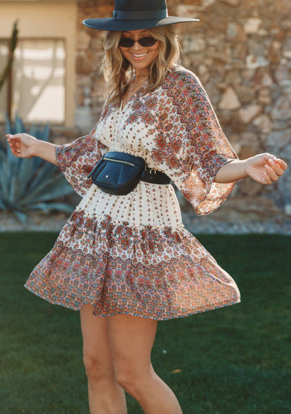 Sweet Bohemian Floral Mini Dress