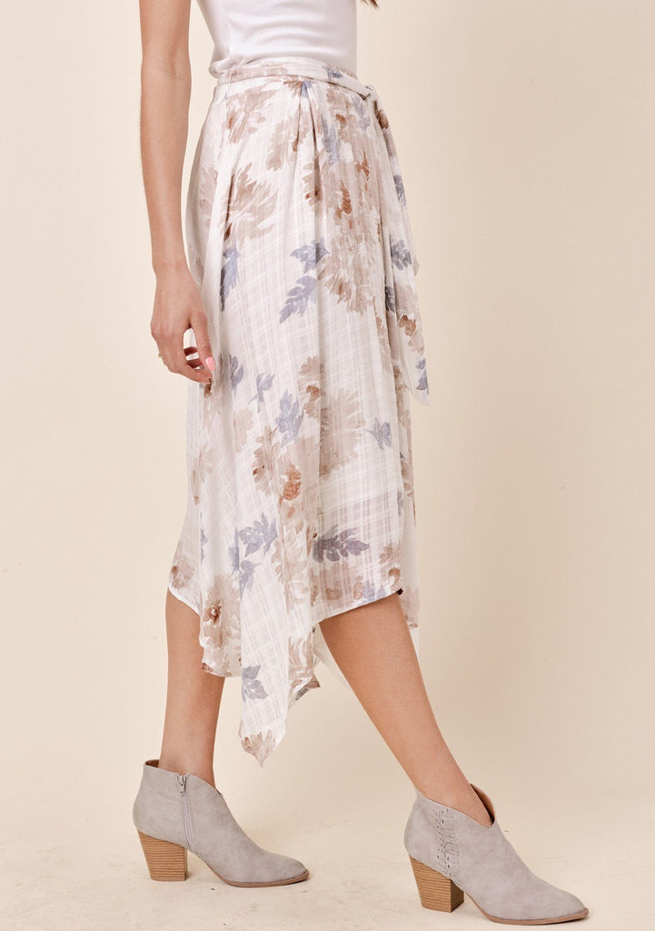 [Color: Taupe/Grey] Lovestitch floral printed, flowy skirt with asymmetrical hem.