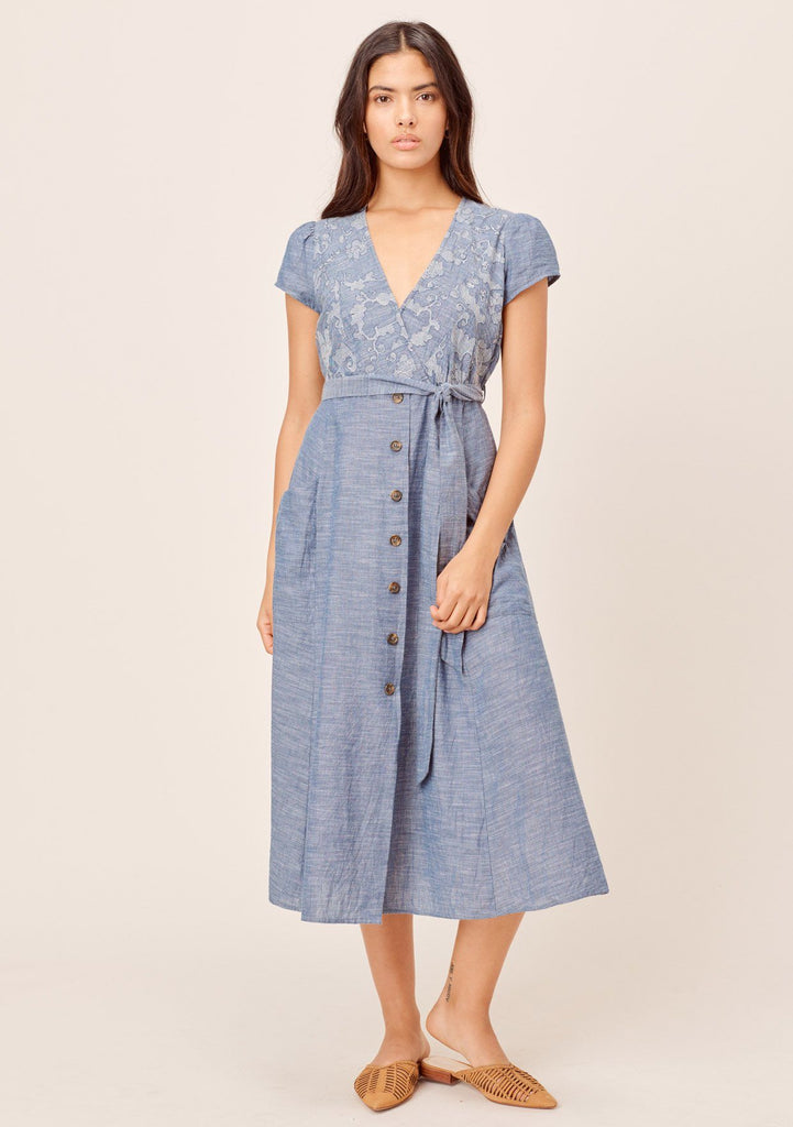 [Color: Indigo] Lovestitch Retro inspired, indigo cotton midi dress with embroidered bodice, buttoned skirt and self tie belt.