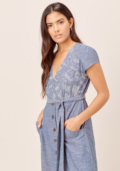 Janie Denim-Blue Embroidered Midi Dress