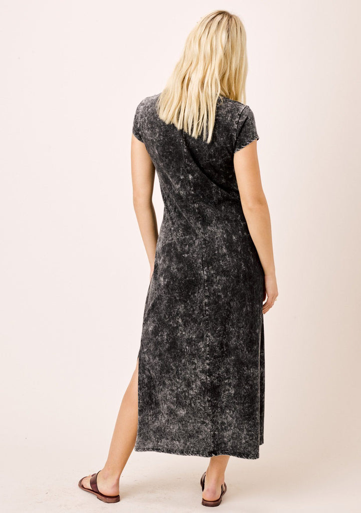 [Color: Black] Lovestitch snow wash, short sleeve, twisted neck, side slit hem midi dress.