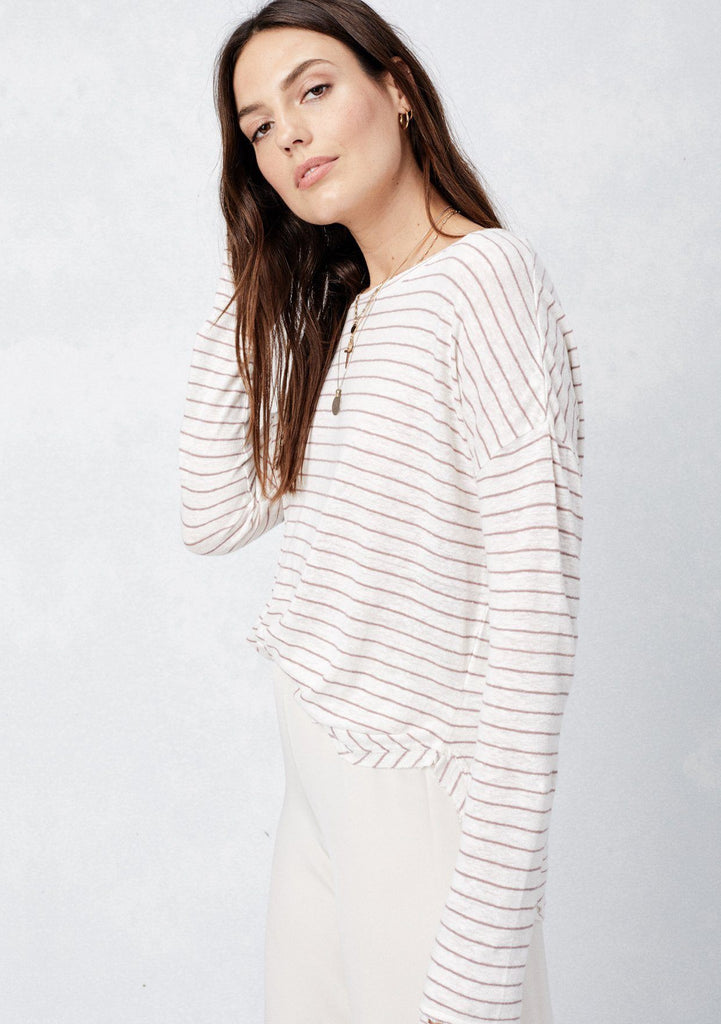 [Color: Ivory/HeatherBerry]  Lovestitch striped, long sleeve distressed top